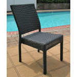 Caribbean Resin Wicker Dining Side Chair, Minimum 2 - BLACK