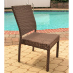 Caribbean Resin Wicker Dining Side Chair, Minimum 2 - COFFEE BROWN