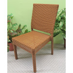Caribbean Resin Wicker Dining Side Chair & Cushion - GOLDEN HONEY