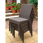Caribbean Resin Wicker Dining Side Chair & Cushion, Min 2 - COFFEE BROWN STACK