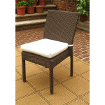Caribbean Resin Wicker Dining Side Chair & Cushion - COFFEE BROWN