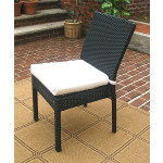 Caribbean Resin Wicker Dining Side Chair & Cushion - BLACK