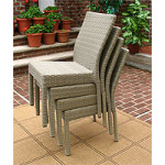 Caribbean Resin Wicker Dining Side Chair & Cushion - DRIFTWOOD STACK