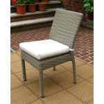 Caribbean Resin Wicker Dining Side Chair & Cushion, Min 2 - DRIFTWOOD