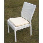 Caribbean Resin Wicker Dining Side Chair & Cushion - WHITE