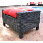 Caribbean Resin Wicker Ottoman  - BLACK