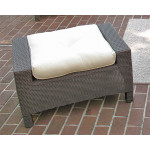 Caribbean Resin Wicker Ottoman  - COFFEE BROWN