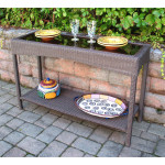 Caribbean Resin Wicker Serving Console Table  - Brown/Smoked Glass