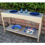 Caribbean Resin Wicker Serving Console Table  - Driftwood/ Frosted Glass