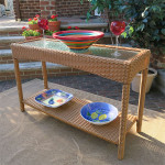 Caribbean Resin Wicker Serving Console Table  - Golden Honey/Clear Glass