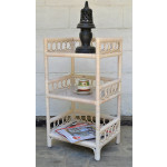 Circle Design Wicker Floor Shelf, White Wash -