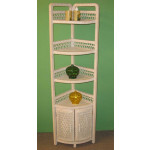 Corner Wicker Bath Cabinet, White Wash -