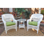Bel Aire Resin Wicker Chat Set (2) Chairs (1) Round Table - WHITE