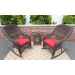 3 Piece Resin Wicker Chat Set, (2) Rockers (1) Round Table  - ANTIQUE BROWN