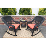 3 Piece Resin Wicker Chat Set, (2) Rockers (1) Round Table  - BLACK