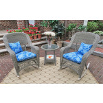 3 Piece Resin Wicker Chat Set, (2) Rockers (1) Round Table  - DRIFTWOOD