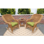 3 Piece Resin Wicker Chat Set, (2) Rockers (1) Round Table  - GOLDEN HONEY