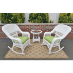 3 Piece Resin Wicker Chat Set, (2) Rockers (1) Round Table  - WHITE