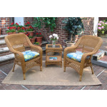 3 Piece Bel Aire Resin Wicker Chat Set With Square Table  - GOLDEN HONEY---SP3766