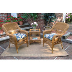 3 Piece Bel Aire Resin Wicker Chat Set With Square Table  - GOLDEN HONEY---SP3757