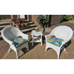 3 Piece Natural Wicker Diamond Chat Set of 3 - WHITE