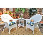 Resin Wicker Chat Set Veranda High Back - WHITE