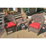 3 Piece Malibu Resin Wicker Chat Set with Round End Table - ANTIQUE BROWN