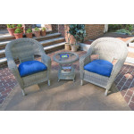 3 Piece Malibu Resin Wicker Chat Set with Round End Table - DRIFTWOOD
