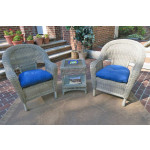 3 Piece Malibu Resin Wicker Chat Set with Square Table - DRIFTWOOD