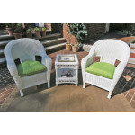 3 Piece Malibu Resin Wicker Chat Set with Square Table - WHITE