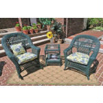 3 Piece Madrid Resin Wicker Chat Set (1) Chair (1) Rocker - HUNTER GREEN
