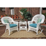3 Piece Madrid Resin Wicker Chat Set (1) Chair (1) Rocker - WHITE