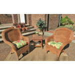 3 Piece Naples Natural Wicker Chat Set  - TEAWASH