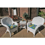 3 Piece Naples Natural Wicker Chat Set  - WHITE