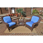 3 Piece Palm Springs Resin Wicker Chat Set - ANTIQUE BROWN
