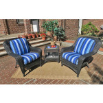 3 Piece Palm Springs Resin Wicker Chat Set - BLACK