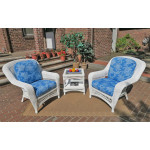 3 Piece Palm Springs Resin Wicker Chat Set - WHITE