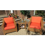Caribbean Slope Arm Wicker Chat Set with Square Table - Golden Honey
