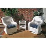Bel Aire Resin Wicker Swivel Glider Chat Set (Square Table)  - WHITE