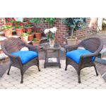 3 Piece Veranda Chat Resin Wicker  Set with Square Table - ANTIQUE BROWN