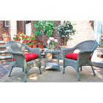 3 Piece Veranda Chat Resin Wicker  Set with Square Table - DRIFTWOOD