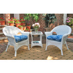 3 Piece Veranda Chat Resin Wicker  Set with Square Table - WHITE