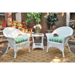 3-Piece Veranda Chat Set with Round Table and Cushions -