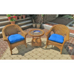 3 Piece Veranda Chat Resin Wicker Set with Round Table - GOLDEN HONEY