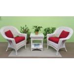 3 Piece White Vineyard Natural Wicker Chat Set  -