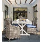 7 Piece (6 chairs) Countryside Outdoor Aluminum Slat Top Dining Set - PEBBLE