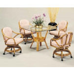 "Classic Comfort Rattan Dining Set 42"" Square Round Glass -"