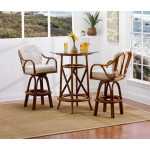 """Classic Comfort Rattan Counter Height Cafe Set 36"""" Round Glass -"""