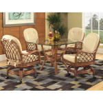 "Grand Isle Rattan Dining Set 42"" Square Round Glass -"