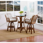 "Grand Isle Rattan Counter Height Cafe Set 36"" Round Glass -"